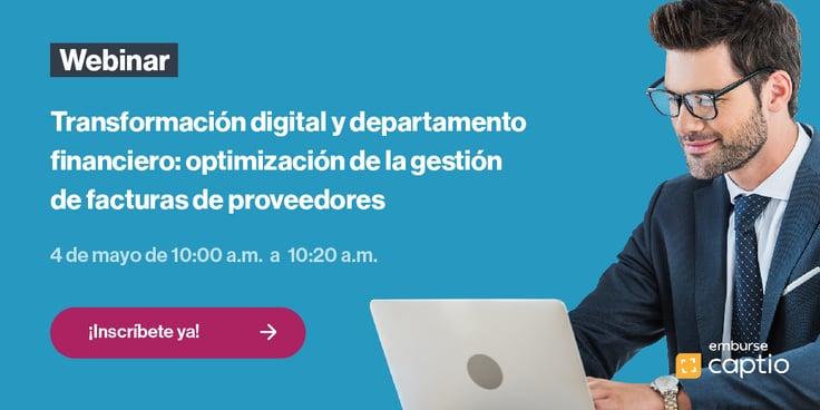 CTA Webinar Transformación digital y departamento financiero optimización de la gestión de facturas de proveedores