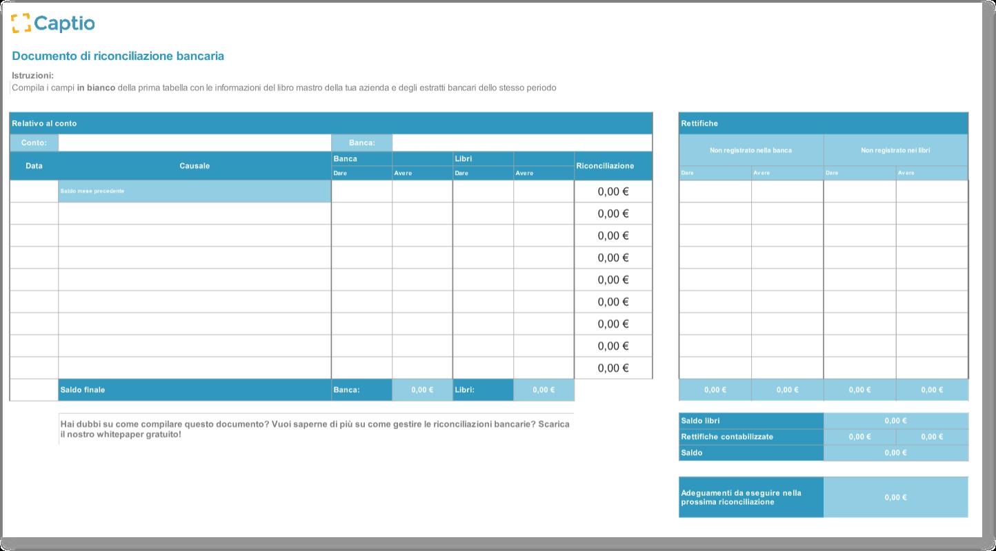 Documento Excel di riconciliazione bancaria - Plantillas