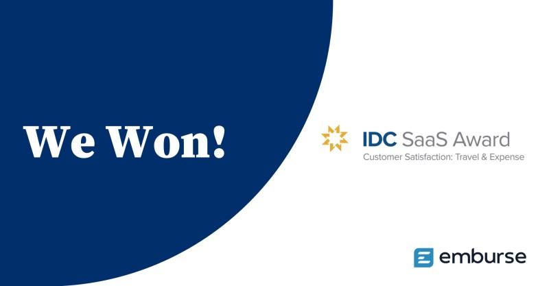 Emburse gana el premio IDC SaaS a la satisfacción al cliente en gastos y viajes